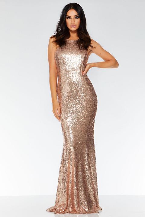 Rose Gold Sequin Cross Back Maxi Dress