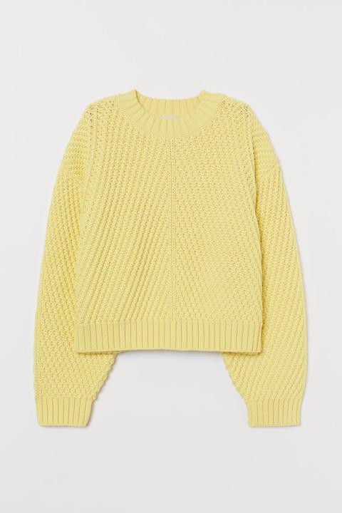 Jersey De Punto Con Textura - Amarillo