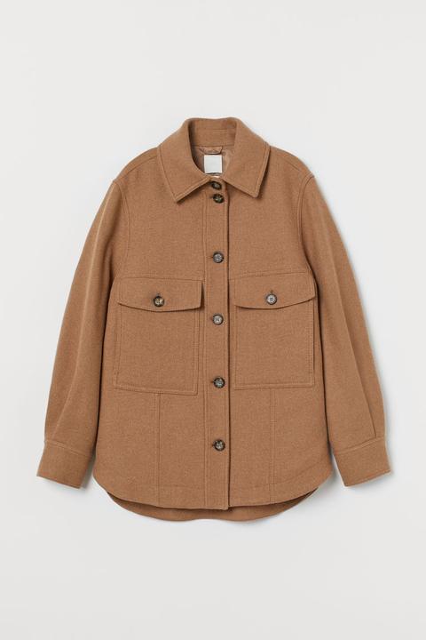 Chaqueta Camisera Con Lana - Naranja de H&M en 21 Buttons