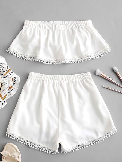 nuovo di zecca 43cb5 c1b7b Set Di Top E Shorts A Fascia Con Lavorazione All'uncinetto Zaful White from  Zaful on 21 Buttons