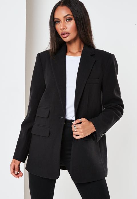 Manteau Noir Style Blazer Boyfriend Tall