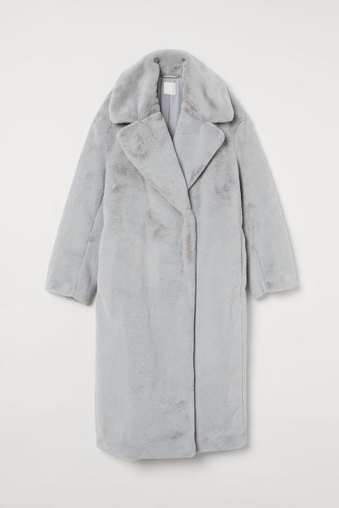 Abrigo En Pelo Sintético - Gris de H&M en 21 Buttons