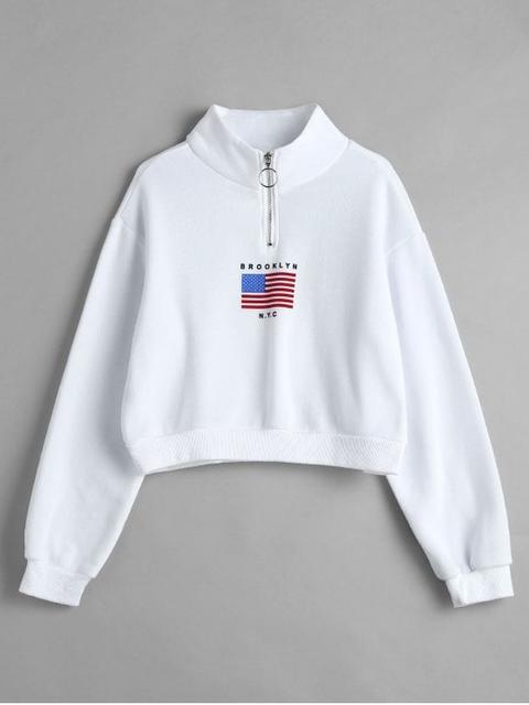Sudadera Con Cuello Simulado Y Cremallera De American Flag White
