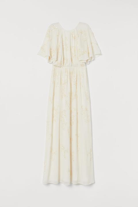 Vestido Largo Con Lentejuelas - Blanco de H&M en 21 Buttons