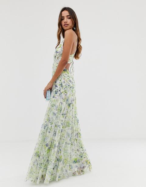 Vestido Largo Con Espalda A Tiras Y Diseño Floral Con Adornos De Asos Design de ASOS en 21 Buttons