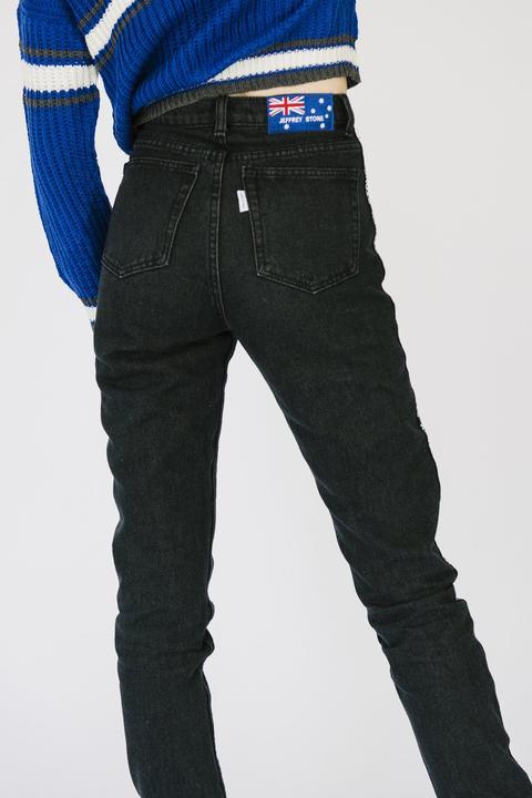 90s Logo Black Jeans