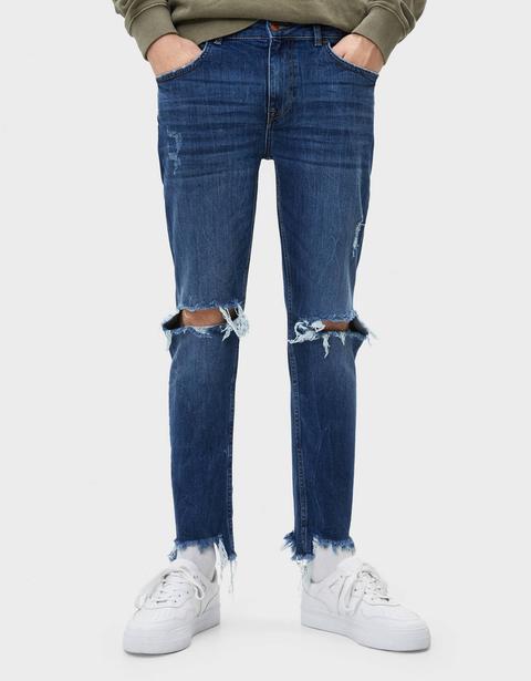 Jeans Skinny Fit Con Rotos de Bershka en 21 Buttons