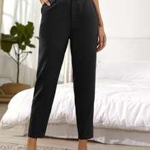 Pantalones Cinta Liso Negro Elegante