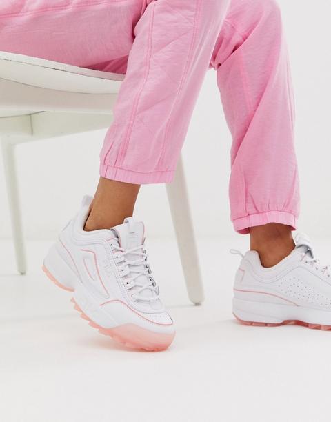 Zapatillas En Blanco Con Suela En Rosa Hielo Disruptor Ii De Fila