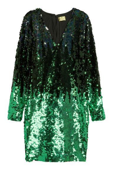Vestido De Lentejuelas - Verde de H&M en 21 Buttons