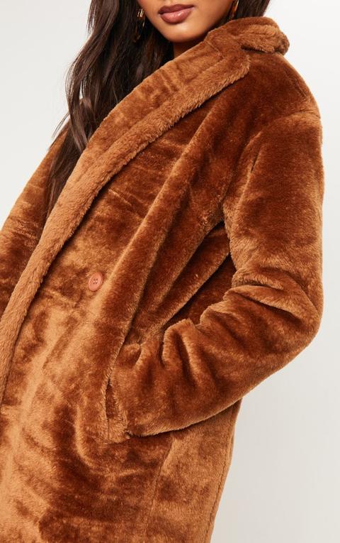 Tall Brown Faux Fur Long Line Coat