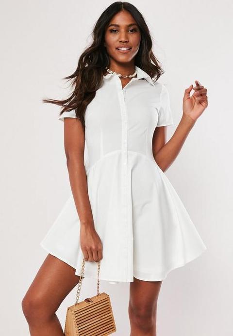 White Skater Shirt Dress, White