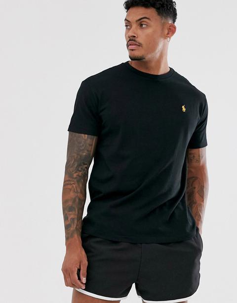 Polo Ralph Lauren Black & Gold Capsule T-shirt Player Logo In Black