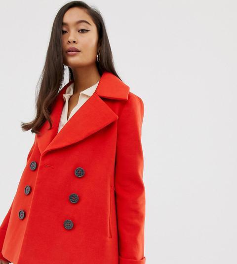 Abrigo De Doble Botonadura Rojo De Miss Selfridge