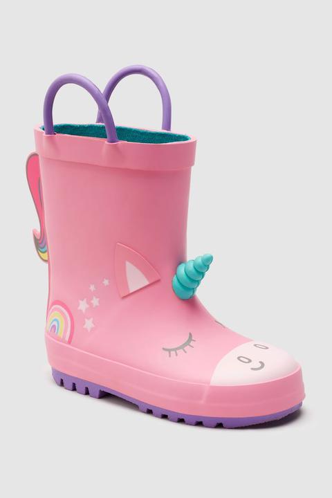 Pink Unicorn Handle Wellies (younger