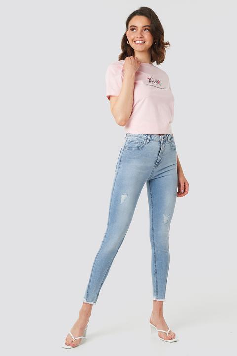 Skinny Twisted Jeans Blau