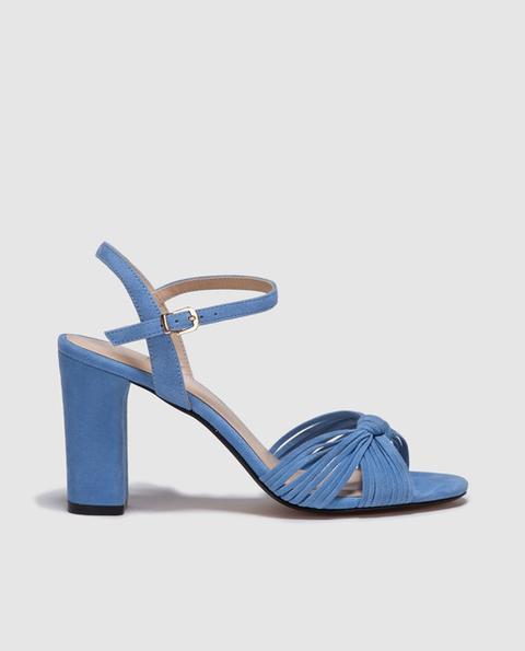 21 Sandalias Ante From Gloria Ingles En Mujer Ortiz Tacón Buttons Azul El Corte On De dCexBo