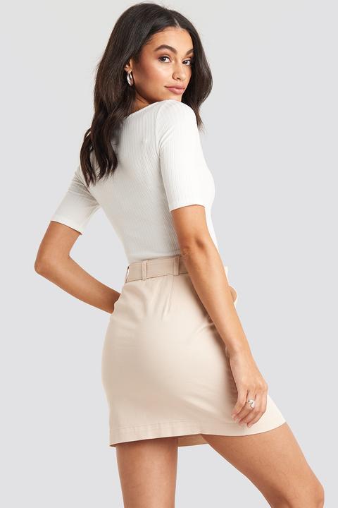Belted Mini Skirt Beige