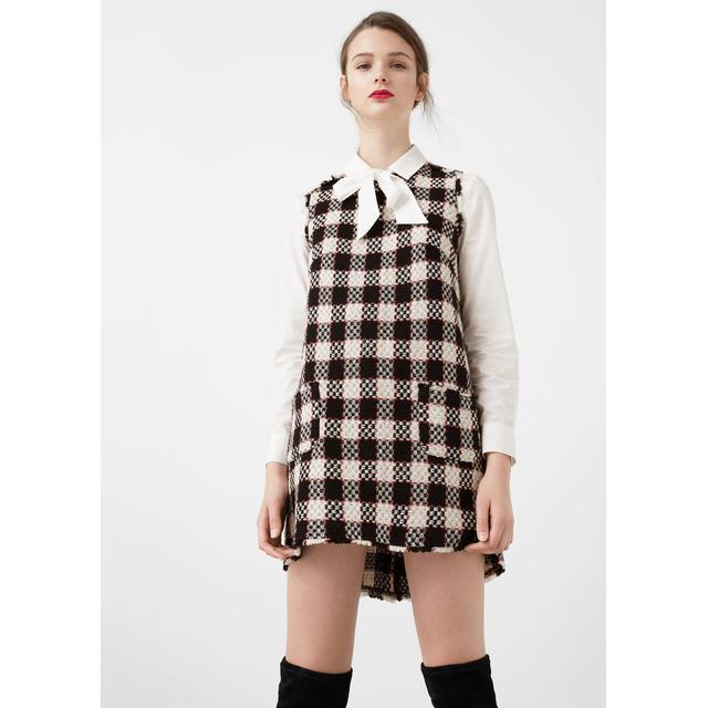 selección premium llega tienda del reino unido Vestido Cuadros Tweed from Mango Outlet on 21 Buttons