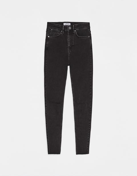 Pantalón High Rise Con Rotos