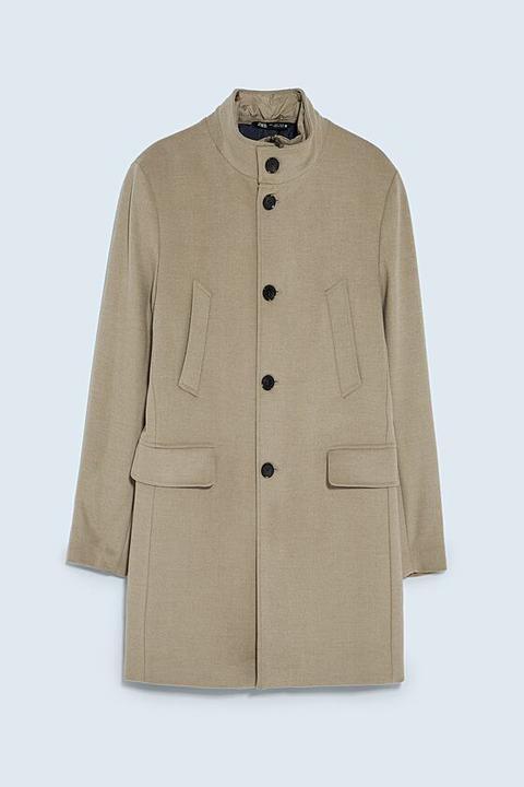 Abrigo Cuello Combinado de Zara en 21 Buttons