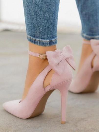 sale retailer 14fb5 e7246 Rosa Punkt Zehe Cut Out Schleife Fesselriemen Stiletto Pumps Elegant High  Heels Damen Schuhe from Cichic on 21 Buttons