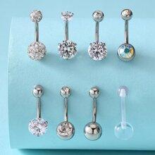 8 Piezas Anillo De Ombligo Con Diamante De Imitación