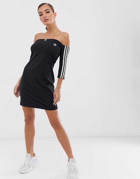 Vestido Negro Con Adidas Originals ASOS 21 Escote Bardot Buttons Rayas De from Tres on Y OkXZuPiT