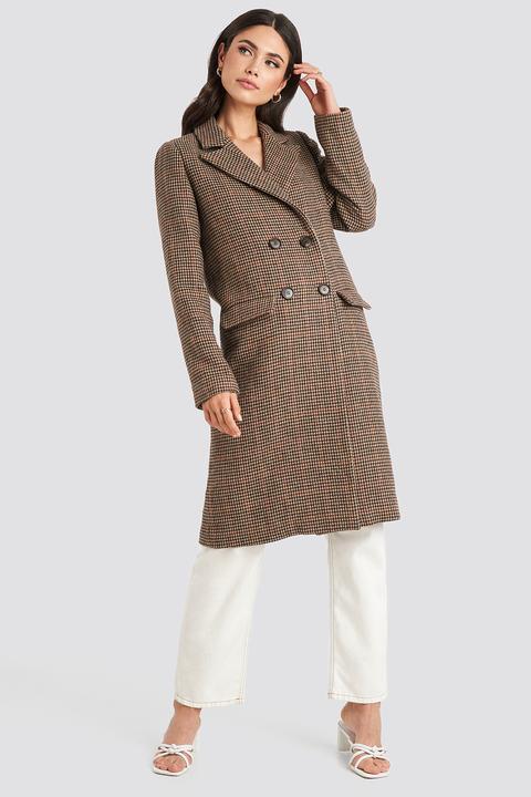 Na-kd Trend Brown Pepita Coat - Brown de NA-KD en 21 Buttons