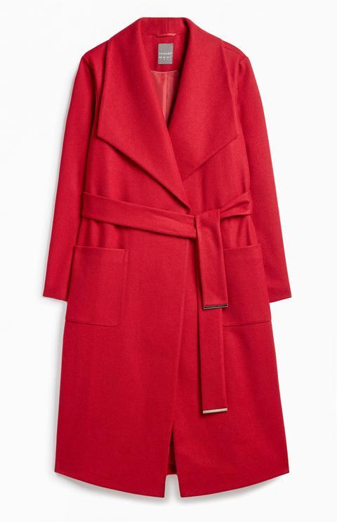 Abrigo Rojo Con Cinturón de Primark en 21 Buttons