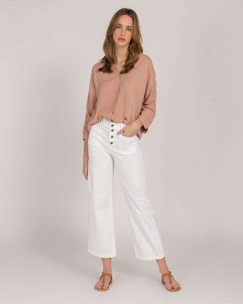 Pantalón Abotonado Bolsillos Cuadrados Blanco