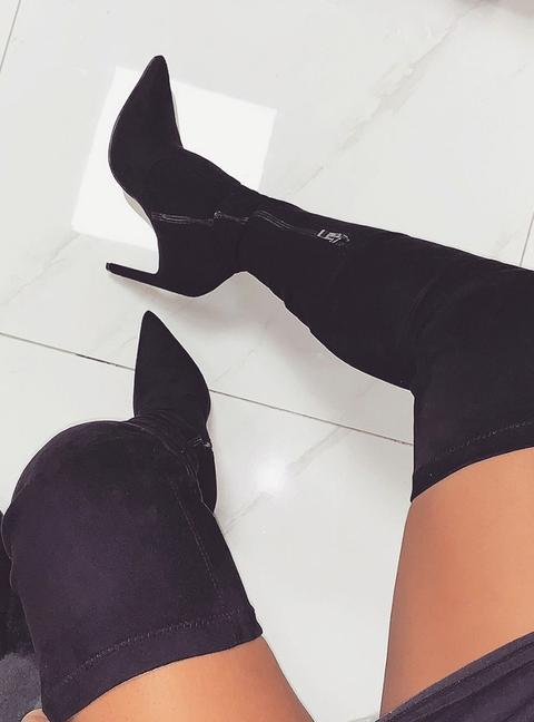 Saffy Black Suede Thigh High Boots