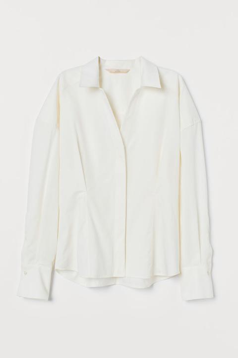 Camisa En Mezcla De Seda - Blanco de H&M en 21 Buttons
