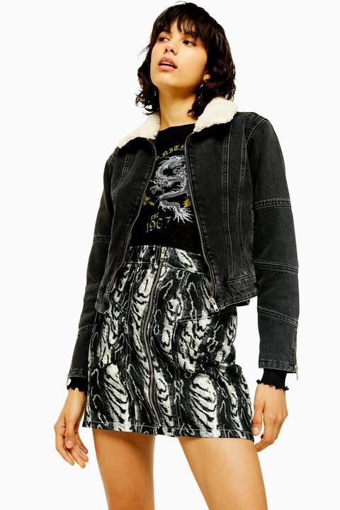 wholesale dealer arrives delicate colors Womens Idol Washed Black Borg Lined Denim Jacket - Washed ...