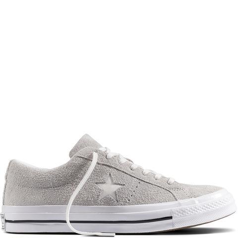 Converse One Star Premium Suede Grey, White de Converse en 21 Buttons