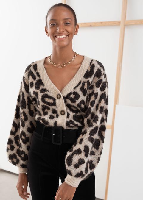 Leopard Puff Sleeve Wool Blend Cardigan de And Other Stories en 21 Buttons