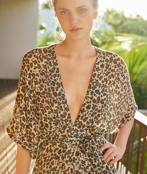 Robe De Plage Imprime Leopard Natural L Beige Femme Etam From Etam On 21 Buttons