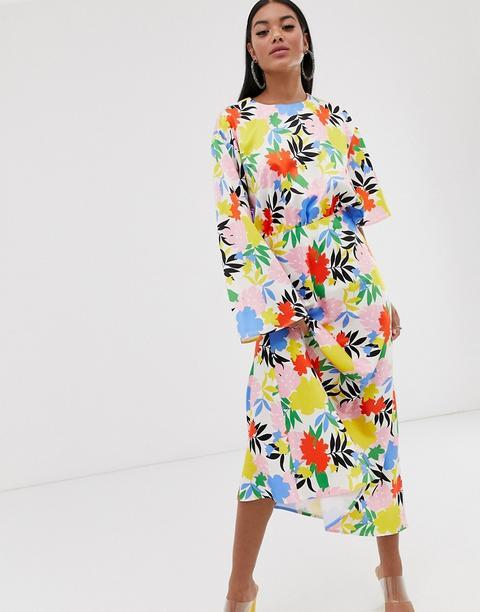Vestido Largo Con Mangas Asimétricas Y Estampado Floral Llamativo De Asos Design de ASOS en 21 Buttons