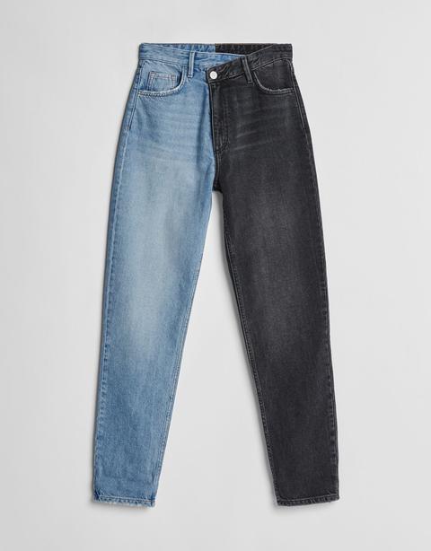 Jeans Mom Contraste Bicolor