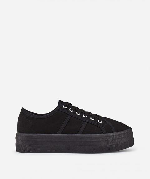 Zapatillas Plataforma Lona Negro