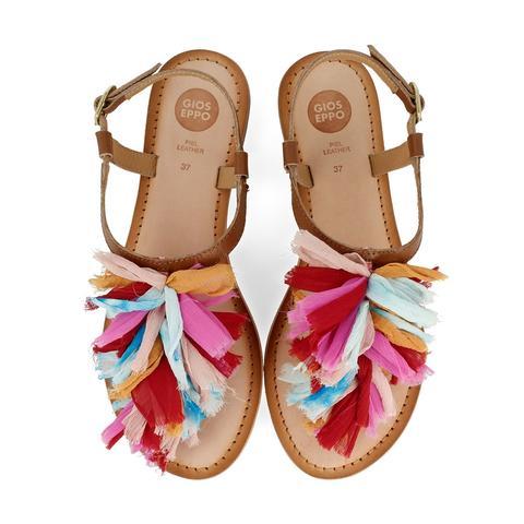 nueva productos 94650 838a2 Sandalias Marrones Estilo Esclava Con Pompones Multicolores Para Mujer  45269 from Gioseppo on 21 Buttons