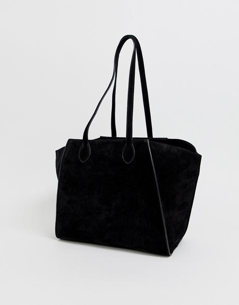 Bolso Shopper De Ante Con Laterales Reforzados Y Bolso Pequeño De Quita Y Pon De Asos Design-negro