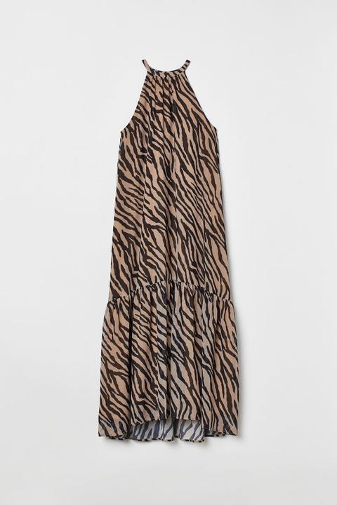 Vestido Largo Con Volante - Beis de H&M en 21 Buttons