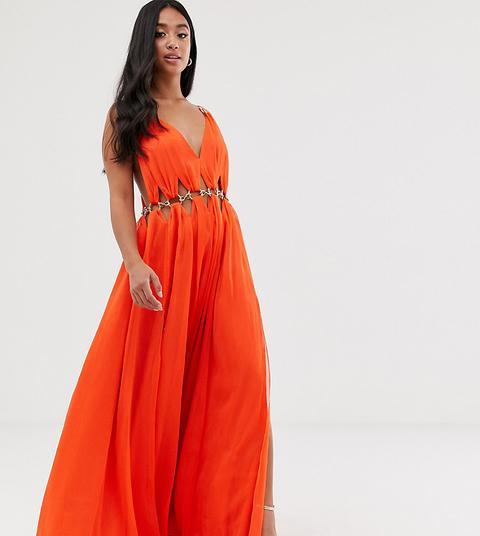 Vestido Largo Con Aberturas Y Detalle De Anilla De Asos Design Petite de ASOS en 21 Buttons