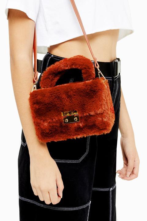 Womens Fizz Orange Faux Fur Box Grab Bag - Orange, Orange