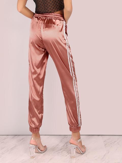 Pantalone Sportivo In Raso Con Righe Laterali