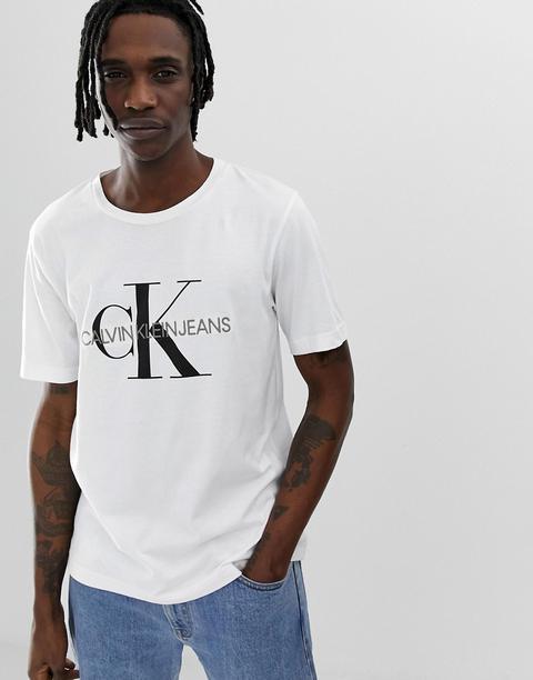 Camiseta Blanca Con Logo Estampado Y Bordado De Monograma Icons De Calvin Klein Jeans