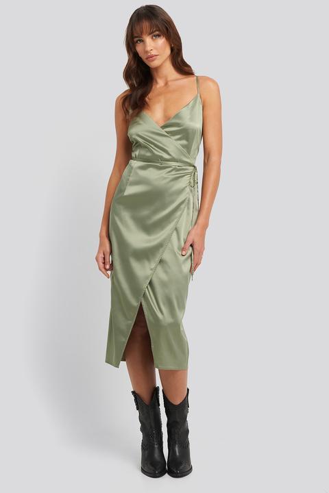 Na-kd Party Cross Back Wrap Midi Dress - Green
