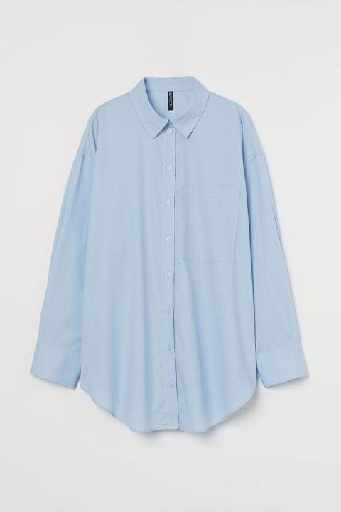 Camisa Oversize De Algodón - Azul