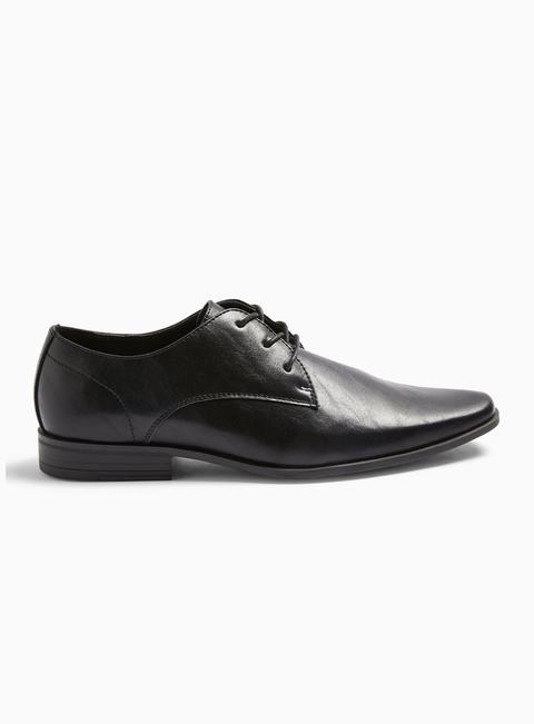 Mens Black Brock Derby Shoes, Black
